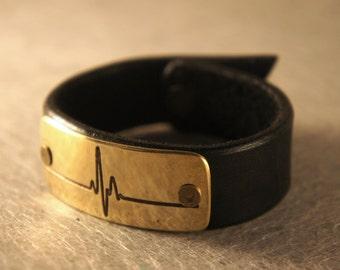 Pulse Inner Energy Bracelet leather + brass