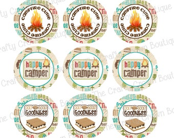 """Camping ~ INSTANT DOWNLOAD 4x6 Digital 1"""" Inch Bottle Cap Image Digital Collage Sheet ~ CCB"""