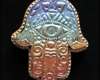 Hand of Hamsa Totem/Talisman Polymer Clay Pendant/Necklace