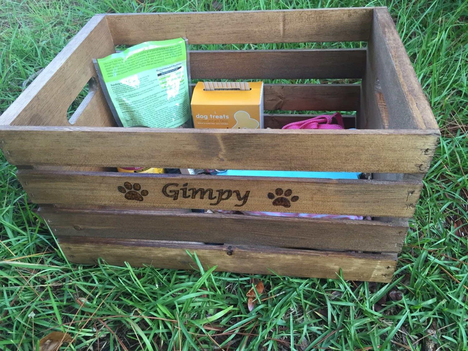 Pet Supply Wooden Crate Pet Toy Box Rustic Wooden Crate