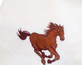 """The Equestrian, Set of 2+ Embroidered Linen 20x20"""" Napkins"""