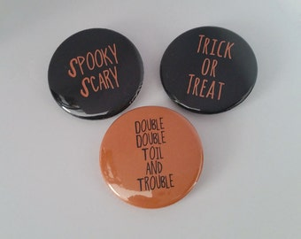 Halloween Button or Magnet three pack