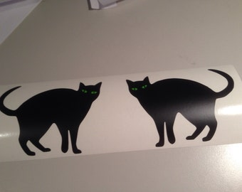 Black Cat pair vinyl decal stickers