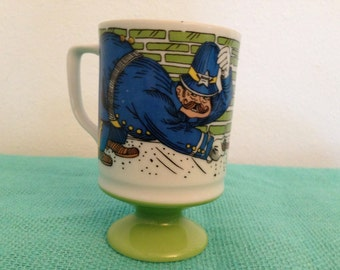 Vintage Gay Old Days Footed Mug Policeman Sherrif Cup Japan