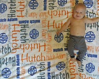 SALE Personalize baby blanket Monogram baby blanket Personalize Swaddle birth announcement Baby Name Blanket Baby Boy Blanket Navy Orange