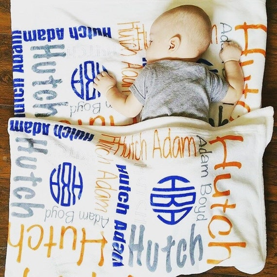 Baby Name Blanket Personalize Baby Blanket Monogram Baby Blanket Name Blanket Personalize Swaddle Blanket Receiving Blanket Navy Orange
