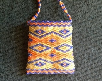 Diamond Beaded Amulet Bag - Native American Beadwork - Tan, Peach, and Blue
