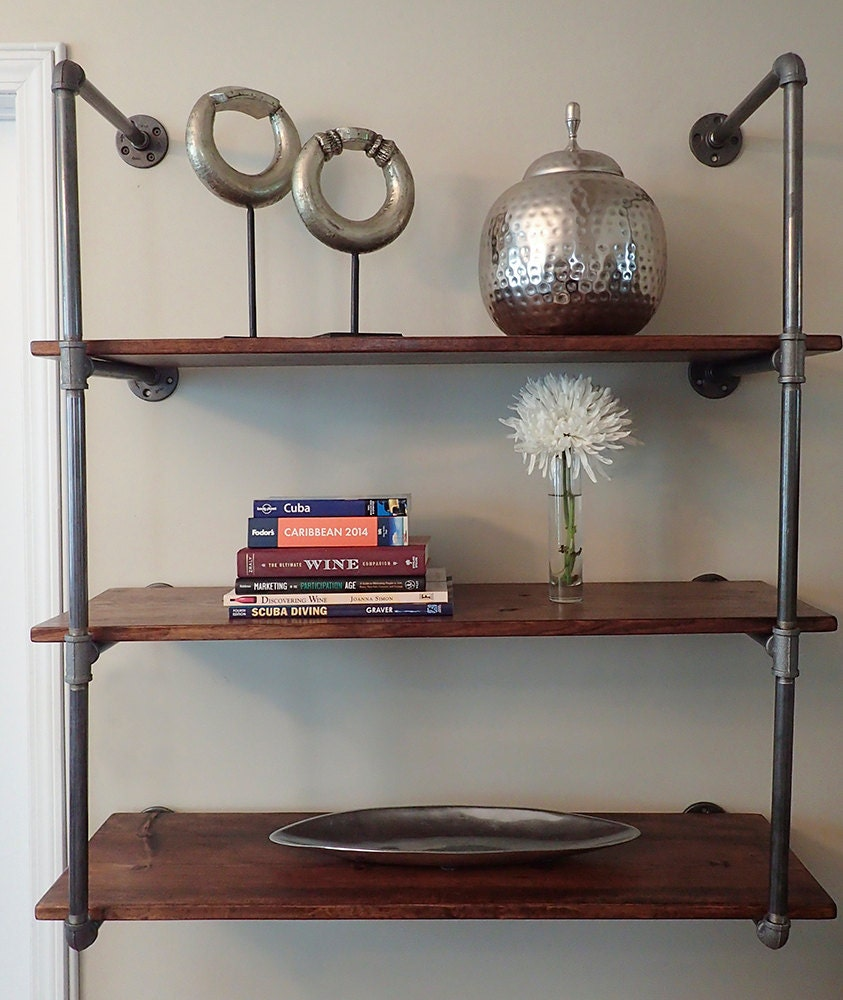 industrial pipe shelving unit wall mounted. Black Bedroom Furniture Sets. Home Design Ideas
