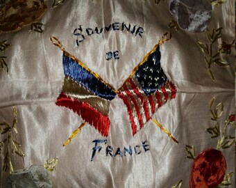 WWII Souvenir of France, Lace/Embroidery Table Topper