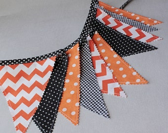 Bunting Flags, Halloween Fabric Banner, Black Orange Pennants, Flags Garland, Halloween Party Decor, Goth Wedding