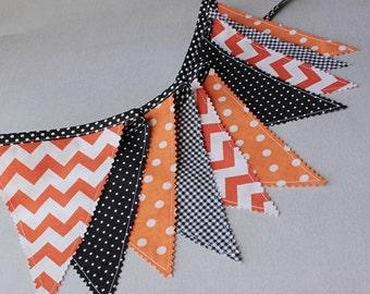 Bunting Flags, Halloween Fabric Banner, Black Orange Pennants, Flags Garland, Halloween Party Decor, Goth Wedding