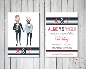 Gay Wedding Invitation, illustrated and custom.