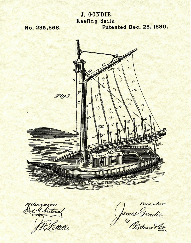 patent 1880 sailboat reefing sails art print poster print