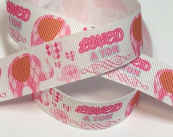 7/8 inch Plaid Preppy Elephants - Loved a Ton - Pink on White - Printed Grosgrain Ribbon for Hair Bow