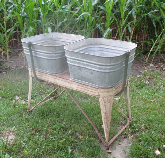 Double Wash Tub : EverReady Galvanized Double Wash Tub Beer Cooler Flower Pot Plant ...