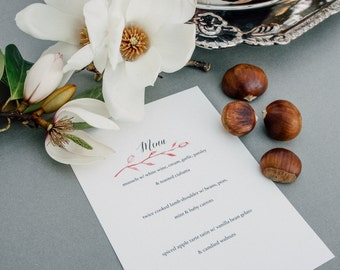 Wedding Menu - Custom Watercolour design to match your wedding theme