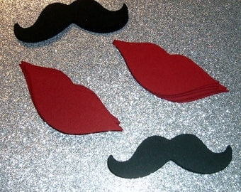 """100 lips and mustaches 50 lips 50 mustaches red and black 3.5""""  Gender Reveal Little Man"""