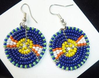 Blue Samburu Glasbead-Earrings, Traditional Kenian Earrings