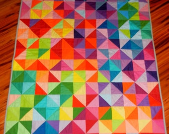 Modern Colorful Lap Quilt, Baby Quilt, Throw Quilt or Twin or Toddler Quilt - Postcards Pattern - made to order