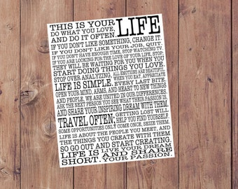 This is Your Life Manifesto INSTANT DOWNLOAD Sign Digital Download File Inspiring Motivational Quotes Sign Poster College Graduation Gift