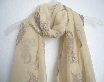 Cat Scarf, Cream And Brown Cat Scarf, For Her, Spring Summer Scarf, Autumn Scarf, Animal Scarf