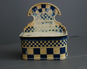 French vintage tin box for matches in lustucru blue chequers. This pretty vintage box hangs on a wall or can sit on your kitchen counter.