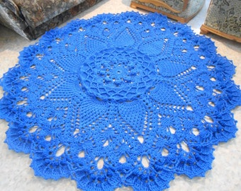 "Crocheted blue rug ""Grand"""