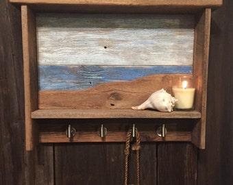 3D beach picture barn wood Coat Rack