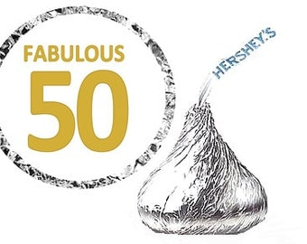 50th Birthday Fabulous 50 Birthday Party Favor Hershey's Kisses Stickers / Labels -216ct