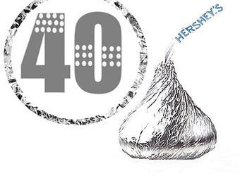 40th Birthday Party Favor Hershey's Kisses Stickers / Labels -216ct