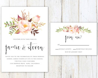 Rustic Wedding Invitation, Floral Wedding Invitation, Pretty Script Wedding Invitation