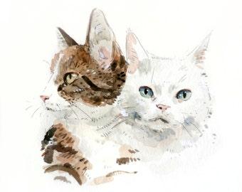 8x10 Custom Double Pet Portrait Illustration