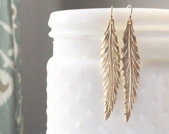 HAVEN | Gold Leaf Earrings | Long Thin Gold Leaf Earrings |Simple Gold Leaves Earrings Everyday Earrings Minimal Earrings Feather Earrings