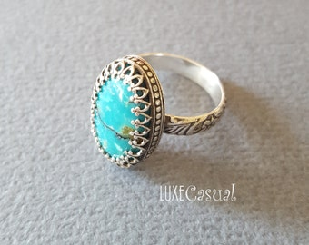 Turquoise Ring, Turquoise & Sterling Silver Ring, Turquoise Band Ring, Turquoise Jewelry