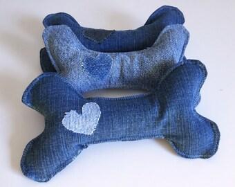 Denim Squeaker Dog Toy - Bone Shaped Upcycled Blue Jean Dog Toy - Repurposed Denim Toy - Recycled Dog Toy - Blue Jean Squeaky Dog Toy