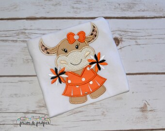 Longhorn Cheerleader Shirt, Girls Longhorn Shirt, Texas Longhorns, Cheerleader Onesie
