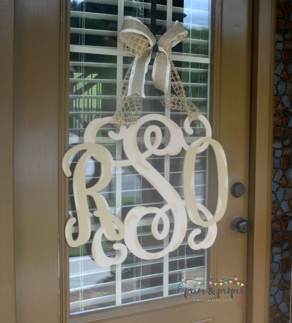Monogram Front Door Decoration: Wooden Monogram Front Door Decor Monogrammed By