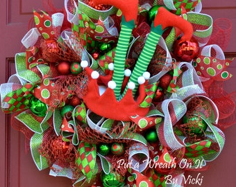 Christmas Deco Mesh Elf Wreath REDUCED!!!