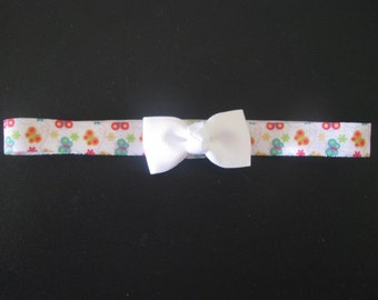 baby headband butterfly print with white bow