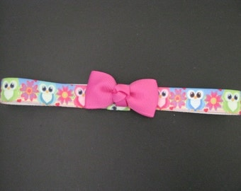 baby headband bright owl print with purple pink bow
