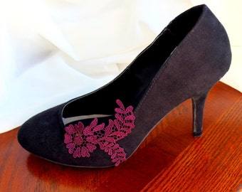 Gorgeous Deep Burgundy Lace Applique Shoe Clip