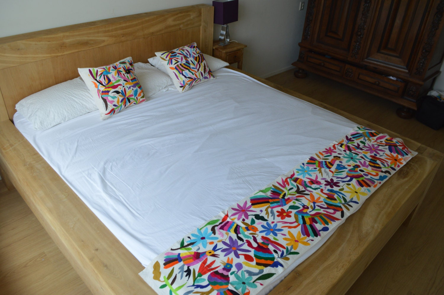 100 organic otomi bed runner mexican bedding mexican bed Mexican embroidered bedding