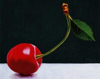 Con Slancio, original acrylic painting of a cherry, no print