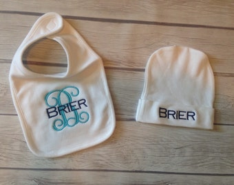 Baby bib and hat set!!! Custom monogrammed! White, pink, or blue!