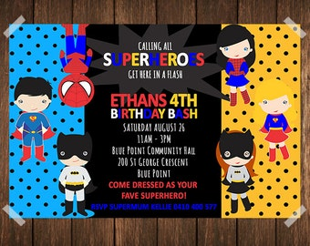 Superhero Birthday Invitation / Superhero Invitation / Supergirl Invitation / Batman Invitation / Superman Invitation / Spiderman Invitation