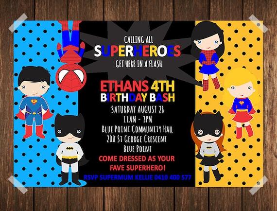 Superhelden Geburtstag Einladung / Superhero Einladung /, Einladungs