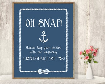 Nautical Wedding Hashtag Sign / Instagram Sign / Social / Nautical Anchor and Rope Infinity Knot ▷ Printable File {or} Printed & Shipped