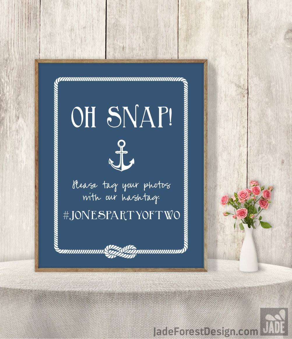 Nautical Wedding Hashtag Sign / Instagram Sign By