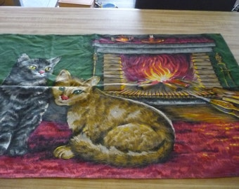 French Vintage Cotton tissu with cats by the fireplace from 1970's