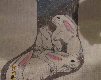 large 4 bunny stocking hand painted neddle point canvas